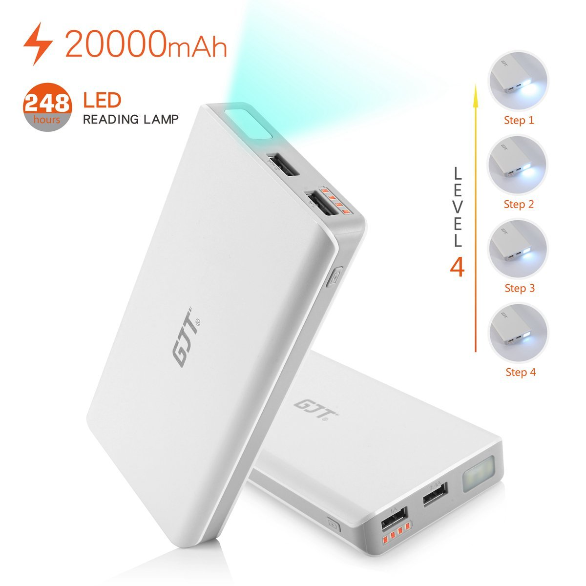 Powerbank GJT 20000MAH Dual USB External Battery Power Bank For Smartphones & Tablets - White