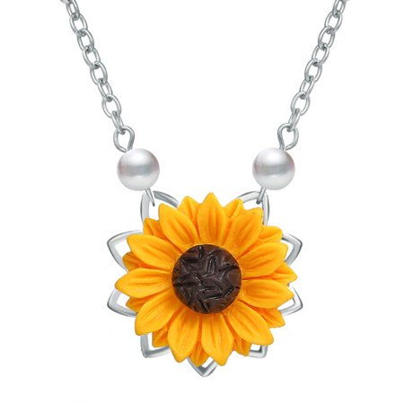KABOER Delicate Sunflower Pendant Necklace for Women Creative Imitation Pearls Jewelry Necklace Clothes Accessories