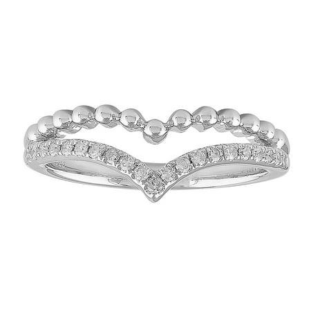 Topaz Bubble - 1/6 cttw Diamond Chevron Bubbles Ring, Sterling Silver