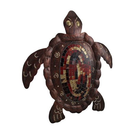 Large Mosaic Shell Brown Sea Turtle Sculpture Metal Wall Hanging 20 Inch for $<!---->