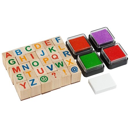 Moore: Premium Wooden Alphabet Stamp Set - 34 Piece Set of Capital Letters Stamps with 4 Color Ink -