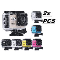 2x Blue Sports Action Camera 1080p HD Waterproof with Touch Screen LCD POV Adventure Camcorder with Accessories GoPro SJCAM Style