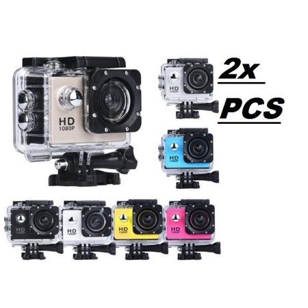 2x Blue Sports Action Camera 1080p 4K HD Waterproof with Touch Screen LCD POV Adventure Camcorder with Accessories GoPro SJCAM