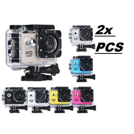 2x Silver Sports Action Camera 1080p HD Waterproof with Touch Screen LCD POV Adventure Camcorder with Accessories GoPro SJCAM (Best Editing App For Gopro Videos)
