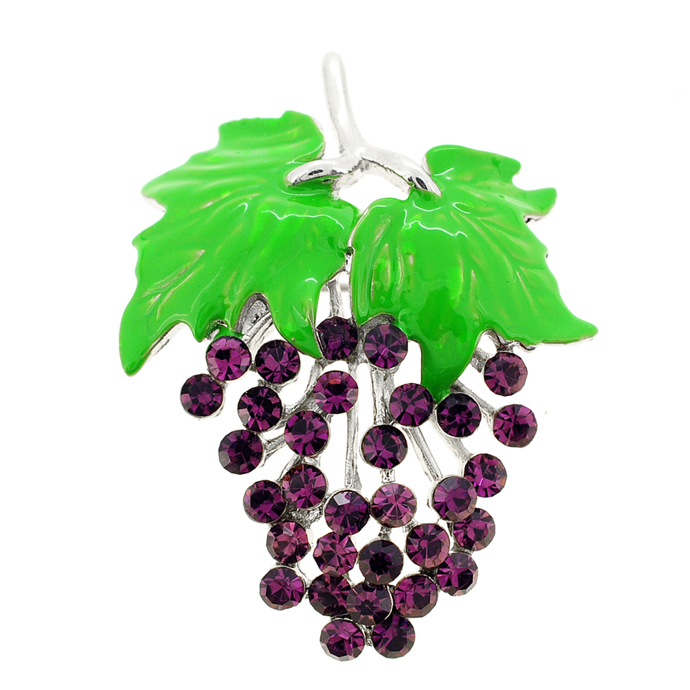 Purple Bunch Of Grapes Amethyst Crystal Pin Brooch by