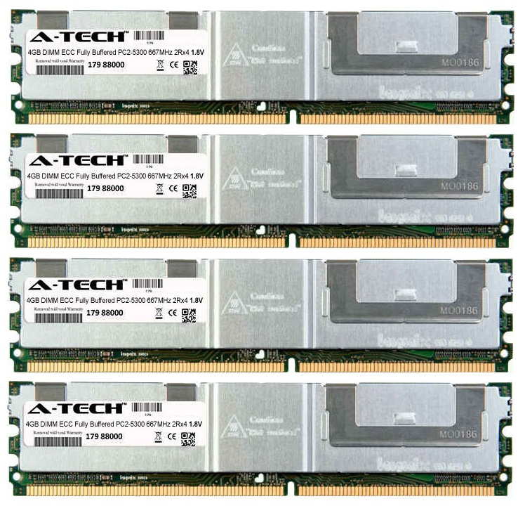 16GB Kit 4x 4GB Modules PC2-5300 667MHz 1.8V 2Rx4 ECC Fully Buffered DDR2 DIMM Server 240-pin Memory Ram