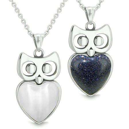Amulets Owl Cute Hearts Love Couples Set White Simulated Cats Eye Blue Goldstone Pendant Necklaces