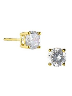 Crislu Stud Earrings, Gold Plated (1.00 cttw)