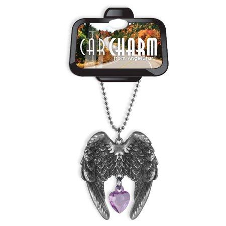 Angel Wings Lavender Crystal Heart Car (Crystal Heart Angel Wing)