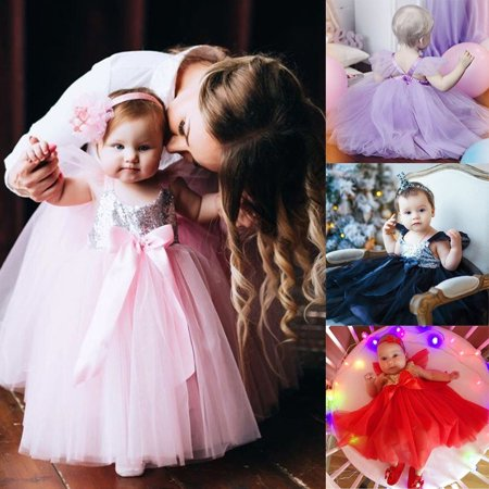 Infant Toddler Baby Girl Princess Party Birthday Dress Clothes Tutu Tulle Dresses
