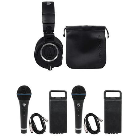 Audio Technica ATH-M50X Over Ear Studio Monitor Headphones W/ Case+2 Microphones Audio Technica Over Ear Headphones