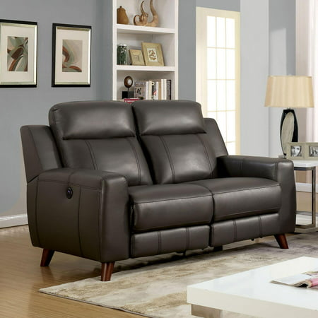 Transitional Gray Faux Leather Upholstery Loveseat Rosalynn Furniture of America