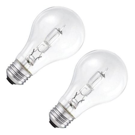 Satco S2403 53w 120v A-Shape A19 Clear eXcel Dimmable Halogen Light Bulb - 2 Pack ()