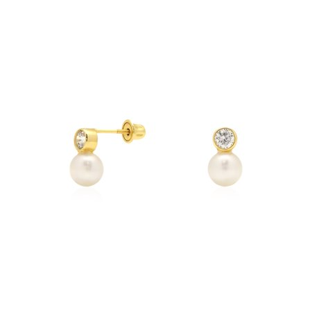 14K Yellow Gold 0.30Ct Created Diamond Cultured Freshwater Pearl Ball Stud