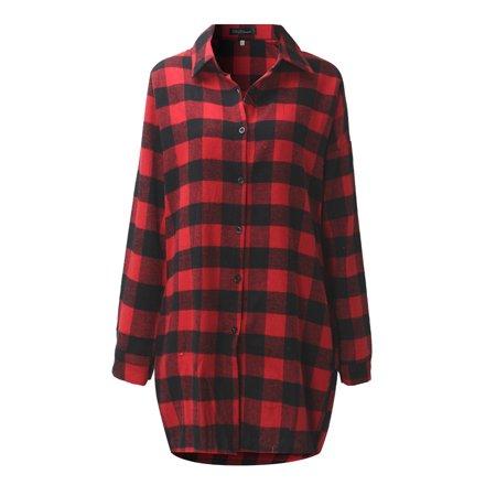 - Women Buttons Down Lapel Collar Long Sleeve Casual Plaid Shirt