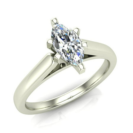 Marquise Cut Solitaire Diamond Engagement Ring 14K White Gold 1/4 ctw (I,I1) Popular Quality
