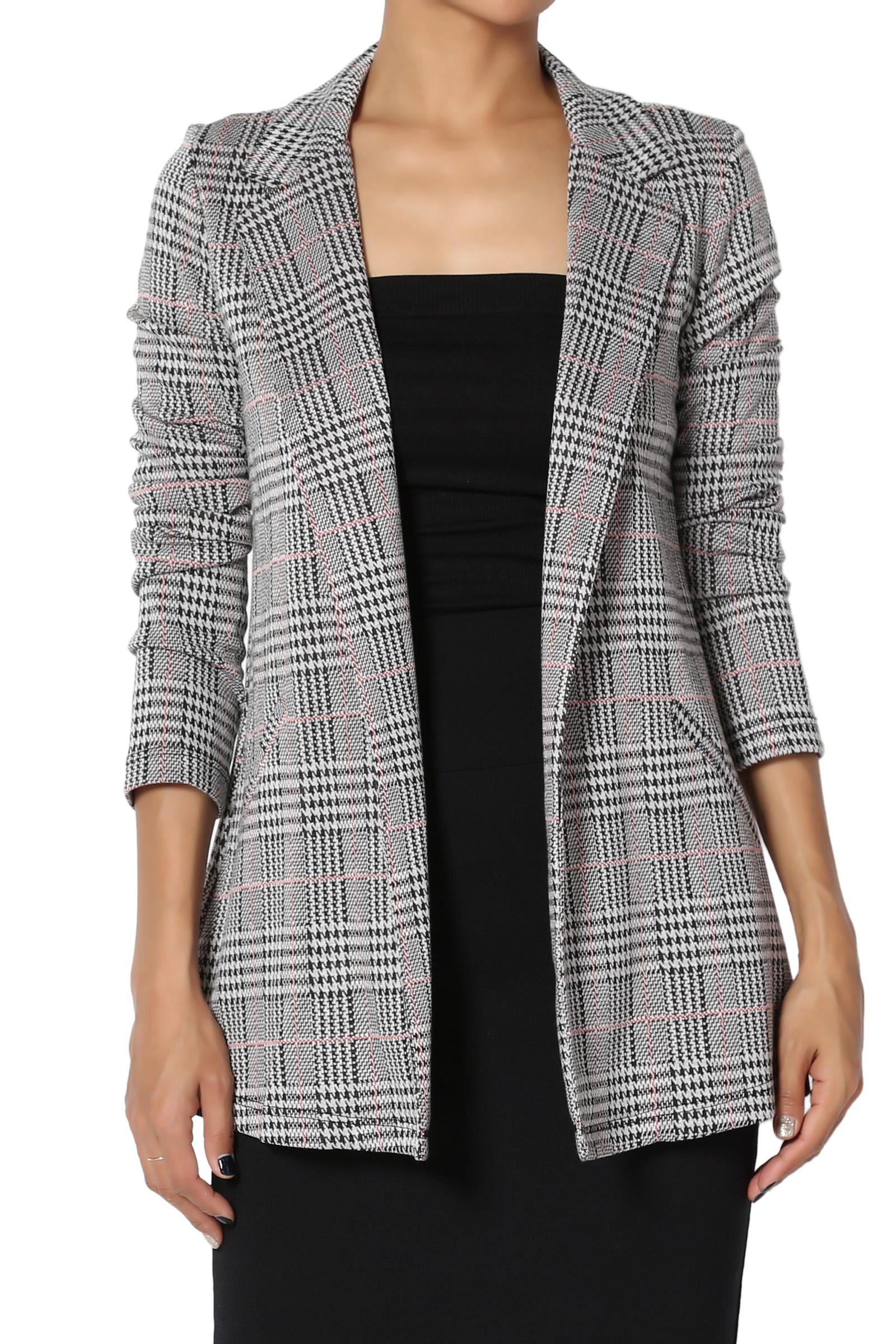 TheMogan Junior's Suitable Stretch Knit Check Plaid Open Front Slim Fit Blazer Jacket