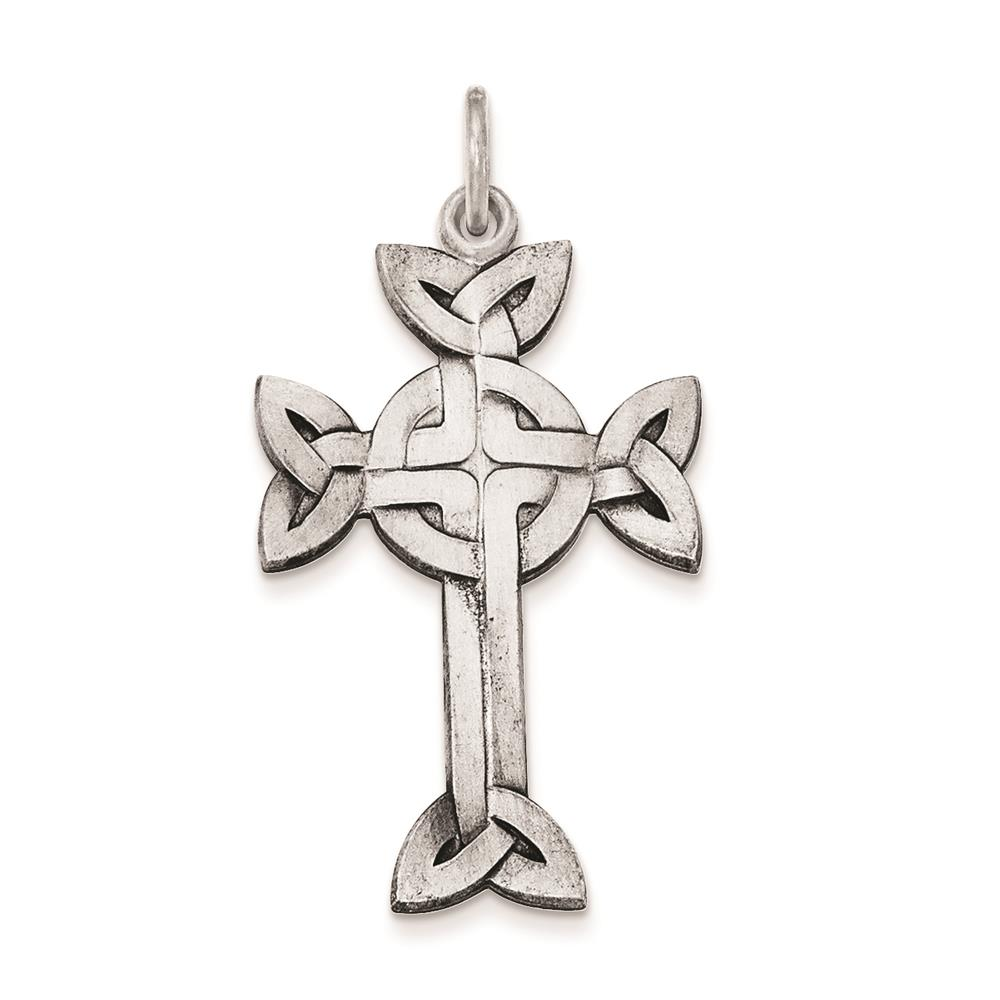 925 Sterling Silver Antiqued Textured and Brushed Celtic Cross Charm Pendant