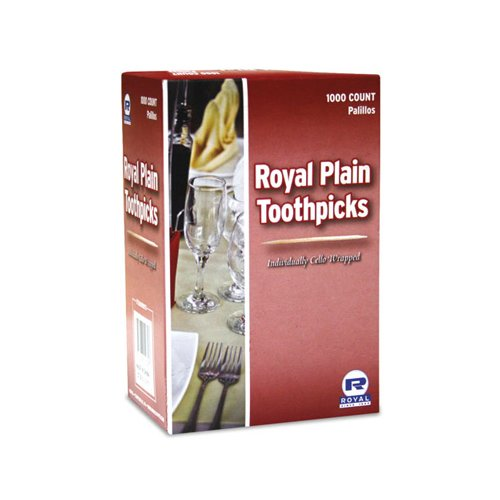 Royal Paper Products Cello-Wrapped Round Wood Toothpicks, 15 count