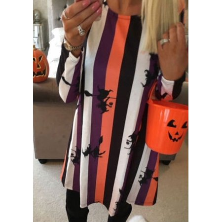 Women Ladies Long Sleeve Halloween Prints Swing Skater Halloween Dress S-XL