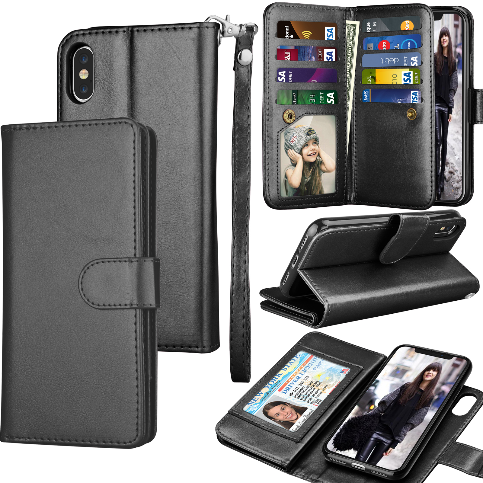 iPhone X Case, iPhone X Wallet Case,iPhone X PU Leather Case, Tekcoo Luxury [Black] License Cash Credit Card Slots Holder Carrying Flip Cover [Detachable Magnetic Hard Case] & Kickstand + Lanyard