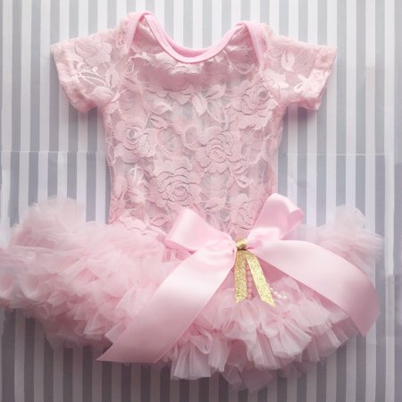 XIAXAIXU Infant Newborn Baby Girl Pink Festival Lace Princess Dress Short Sleeve Romper Dress Bow Tutu Party Formal Dress 0-6 Months