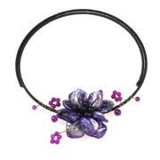 Aeravida Handmade Cotton Rope Purple Shell and Amethyst Floral Wire Necklace (Thailand)