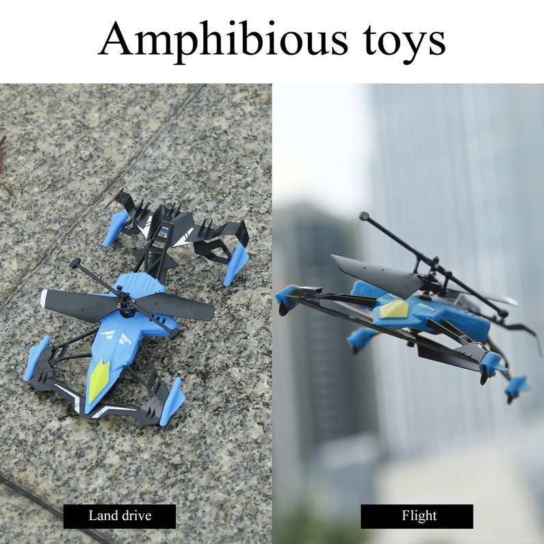 NEW Upgraded Quadcopter Car Toys with Remote Control 2 in 1 Air-Ground Flying Car RC Drone Quadcopter 3D Flip Children Toys Bithday Gift(Blue)