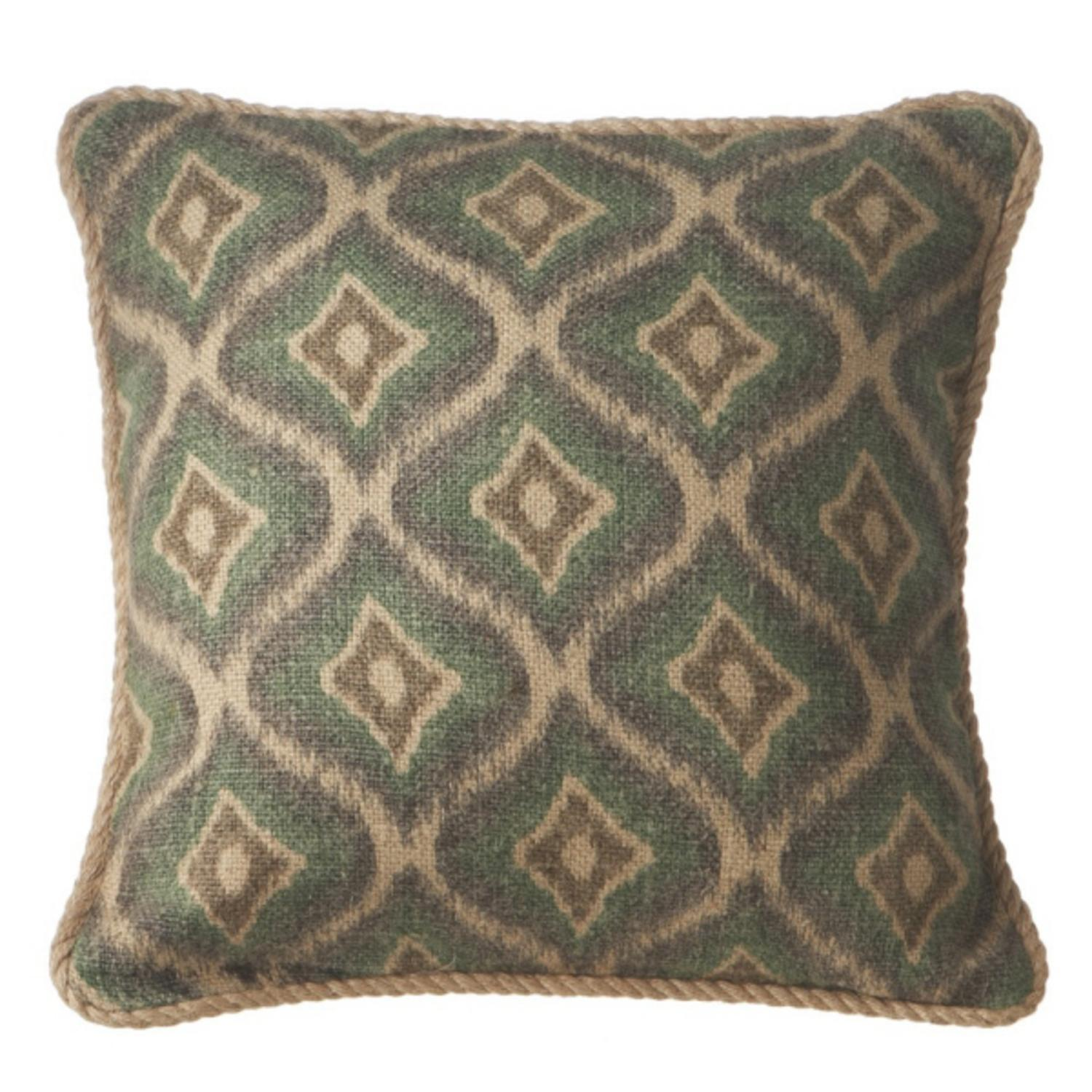 18 Botanic Beauty Decorative Geometric Muted Green Square Throw Pillow With Twisted Trim