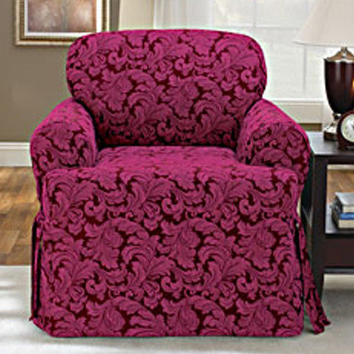 Sure-Fit Scroll Classic Armchair T Cushion Skirted Slipcover