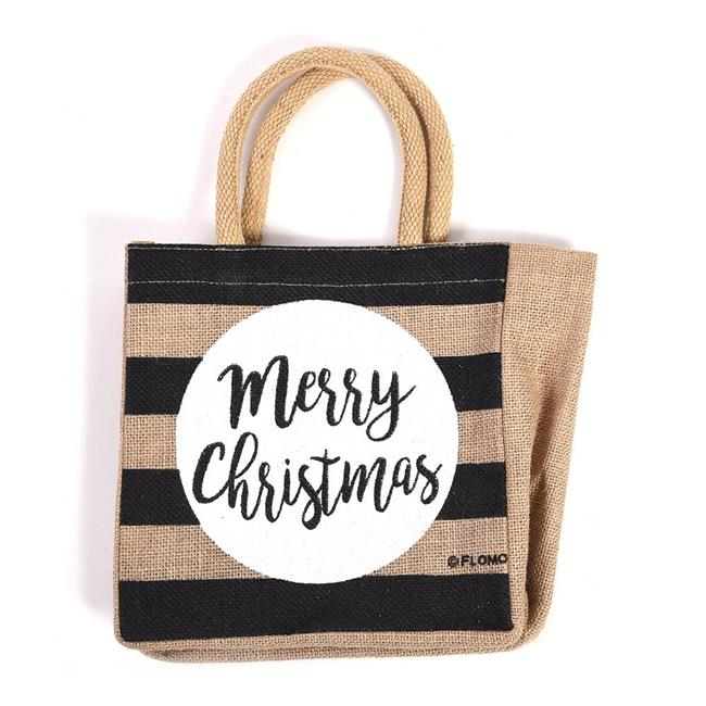 DDI 2319885 Merry Christmas Burlap Square Bag with Chunky Handles - Case of 24