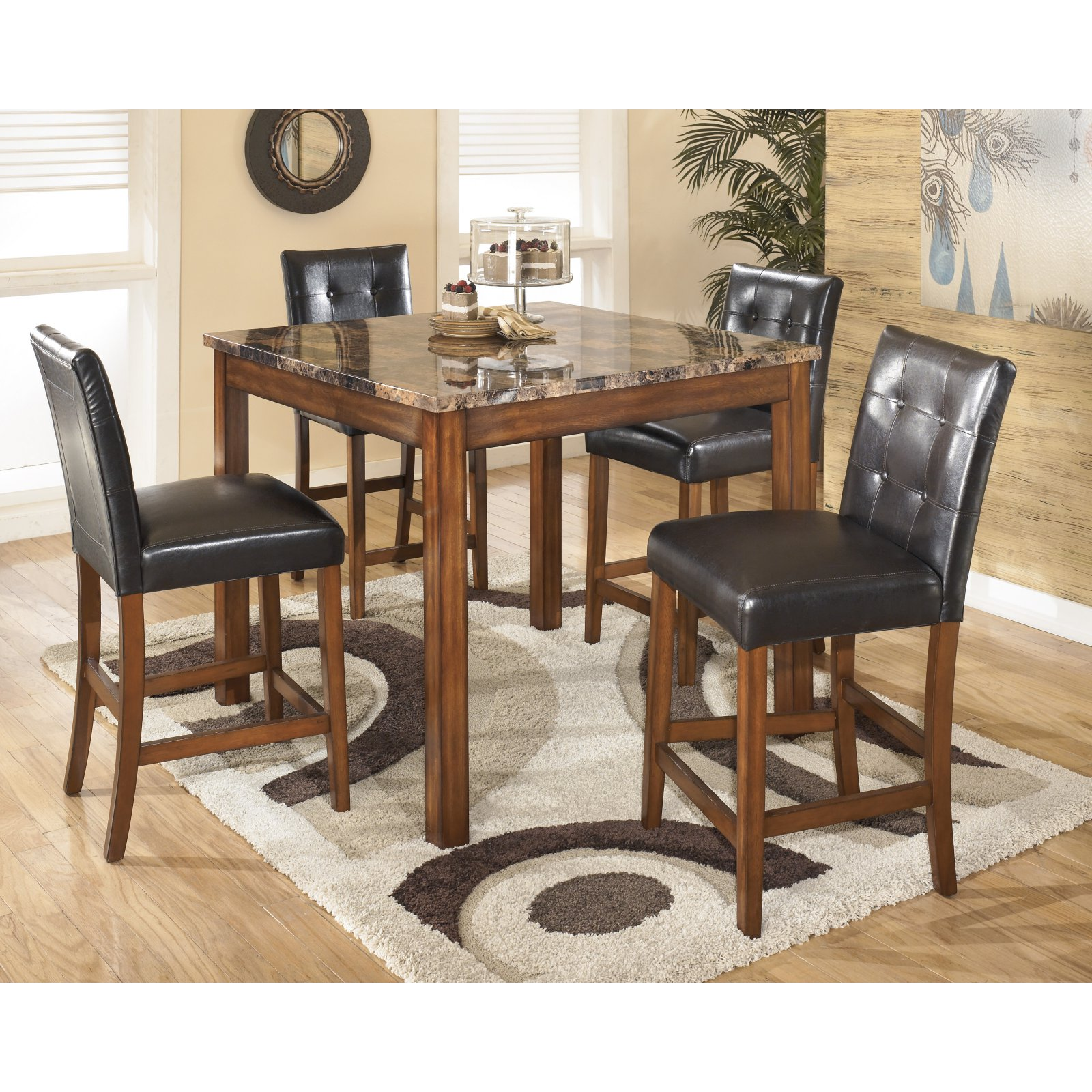 Ashley Theo Counter Height Dining Room Table and Bar Stools (Set of 5), Warm Brown