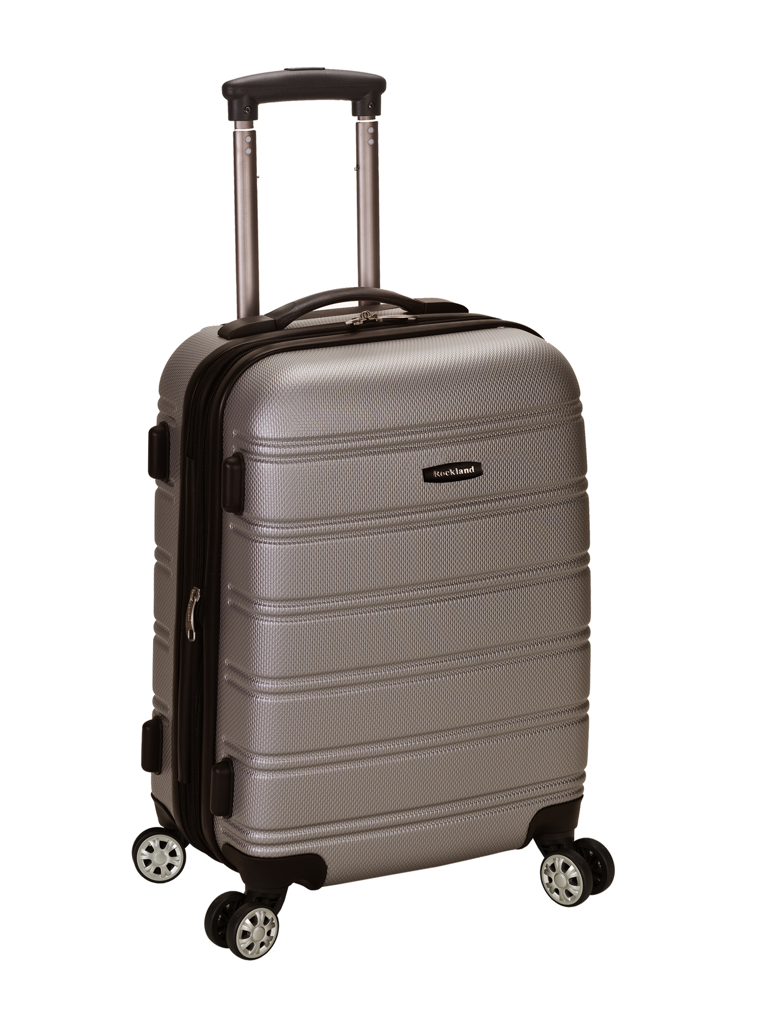 """Rockland Melbourne 20"""" Expandable ABS Carry On Spinner Suitcase - Silver"""