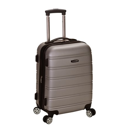 "Rockland Melbourne 20"" Expandable ABS Carry On Spinner Suitcase - Silver"