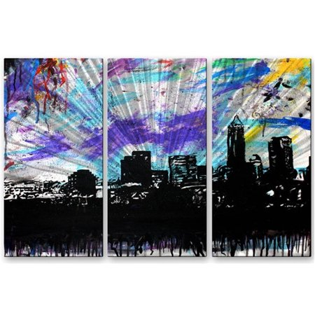All My Walls 'Cleveland 1' by Michael Grubb 3 Piece Painting Print Plaque - Michael Wall Plaque