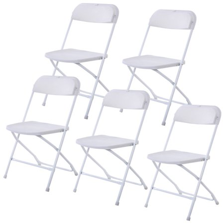 GHP Pack of 5 White Plastic & Powder-Coated Steel Frame Upright Folding Chairs ()