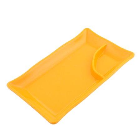 Unique Bargains Plastic 2 Compartments Dumplings Sushi Sauce Mustard Dipping Dish Plate Orange 2 Compartment Sauce Dish