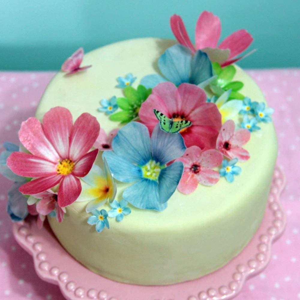 3D LARGE 24 PreCut Edible FLOWERS Rice Wafer Paper Cake Cupcake BIRTHDAY WEDDING