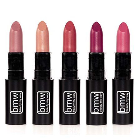 - 5 PCS MATTE LIPSTICK SET OF MUST HAVE COLORS PROFESSIONAL QUALITY WITH HIGH PIGMENT LOAD by BEAUTY MY WAY