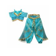 Pudcoco Aladdin Jasmine Princess Cosplay Girl Fancy Dress Up Party Costume Sets