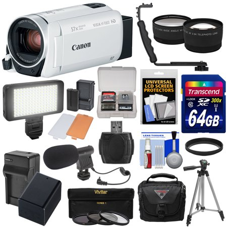 Hf Low Pass Filter - Canon Vixia HF R800 1080p HD Video Camera Camcorder (White) with 64GB Card + Battery & Charger + Case + Tripod + 3 Filters + LED + Mic + 2 Lens Kit