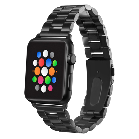 Platinum Stainless Steel Watch Strap for Apple Watch 40mm / 38mm - Black ()