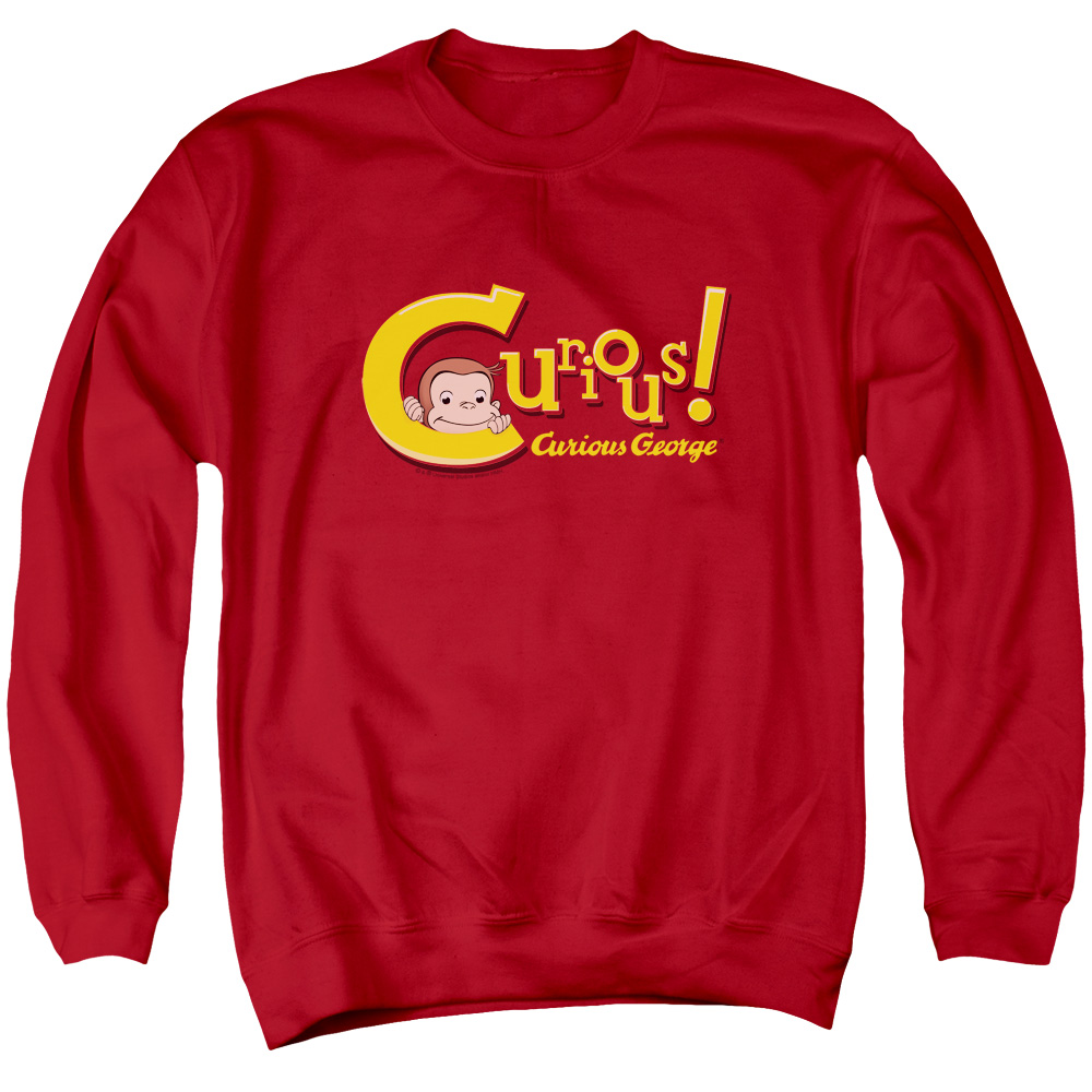 Curious George Curious Mens Crewneck Sweatshirt