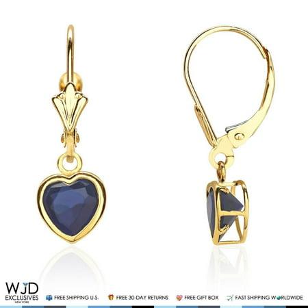 Bezel Set Heart Shaped Sapphire Dangle Lever Back Earrings 14K Solid Yellow Gold