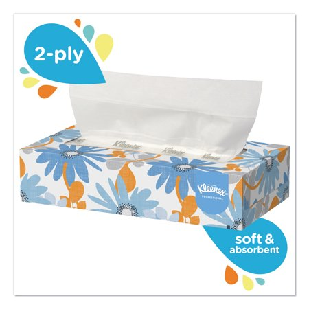Kleenex White Facial Tissue, 2-Ply, 125/Box, 12/Carton (Ridge Tissue)