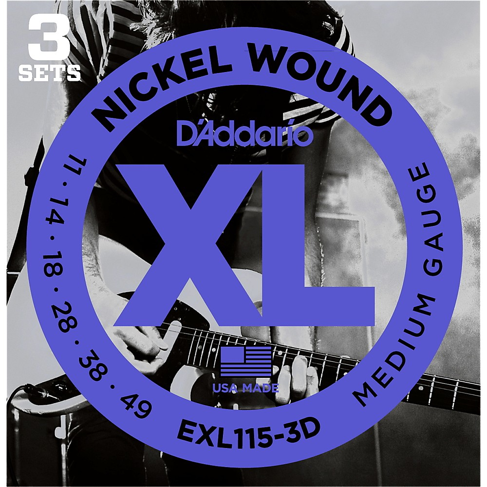 D'Addario EXL115 Medium Gauge Guitar Strings 3-Pack by D'Addario