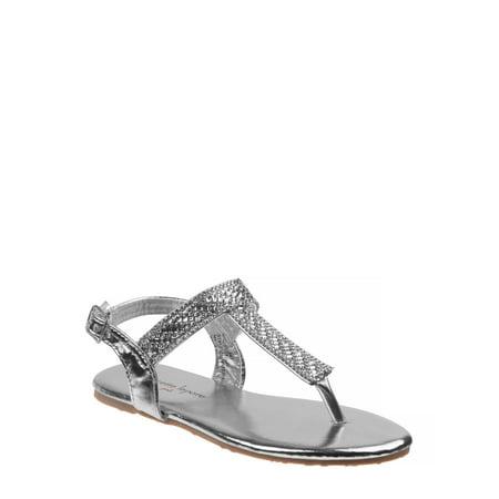 NANETTE Nanette Lepore Dressy Rhinestone Ankle-Strap Thong Sandals (Little Girls & Big Girls)