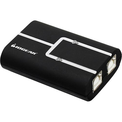 IOGear 2-Port USB 2.0 Printer Auto Sharing Switch, Black