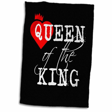 3dRose Queen of the king white text, black background. Red heart and a crown - Towel, 15 by 22-inch](Crown Queen Of Hearts)