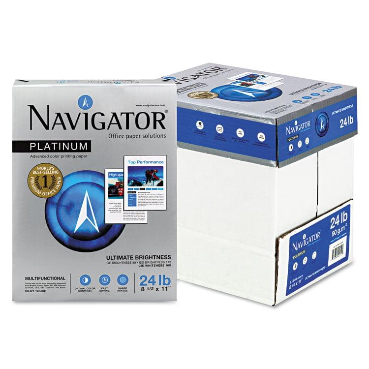 Navigator NPL11245R Platinum Paper- 99 Brightness- 24lb- 8-1/2 x 11- White- 2500/Carton